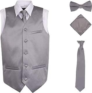 Angelmemory Toddler Boys Plaid Summer Suits Set Vest Set 3 Pieces Shirt Vest and Pants Set
