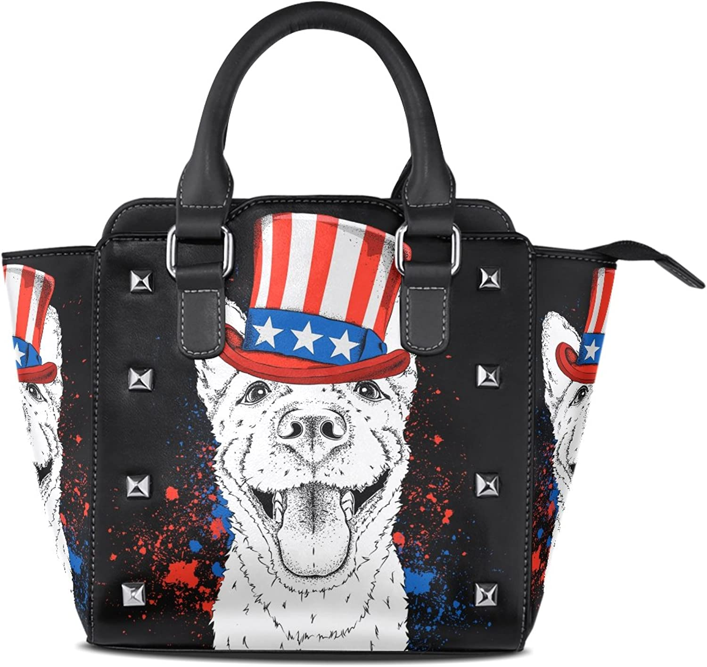 My Little Nest Women's Top Handle Satchel Handbag Dog with American Hat Ladies PU Leather Shoulder Bag Crossbody Bag