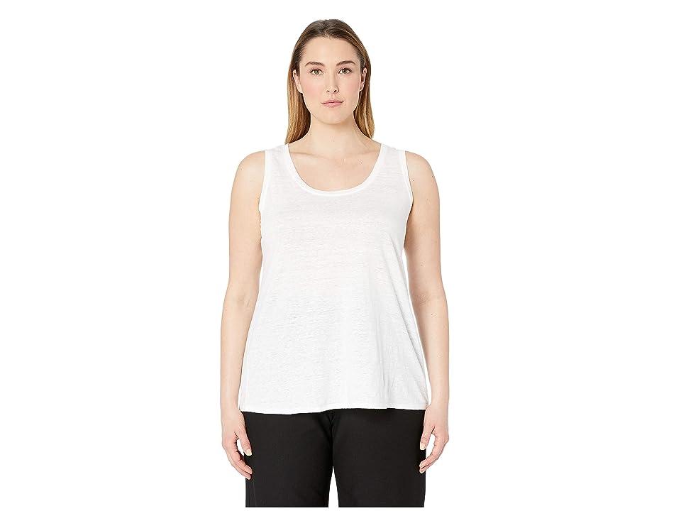 Eileen Fisher Plus Size Organic Linen Jersey U-Neck Long Tank Top (White) Women
