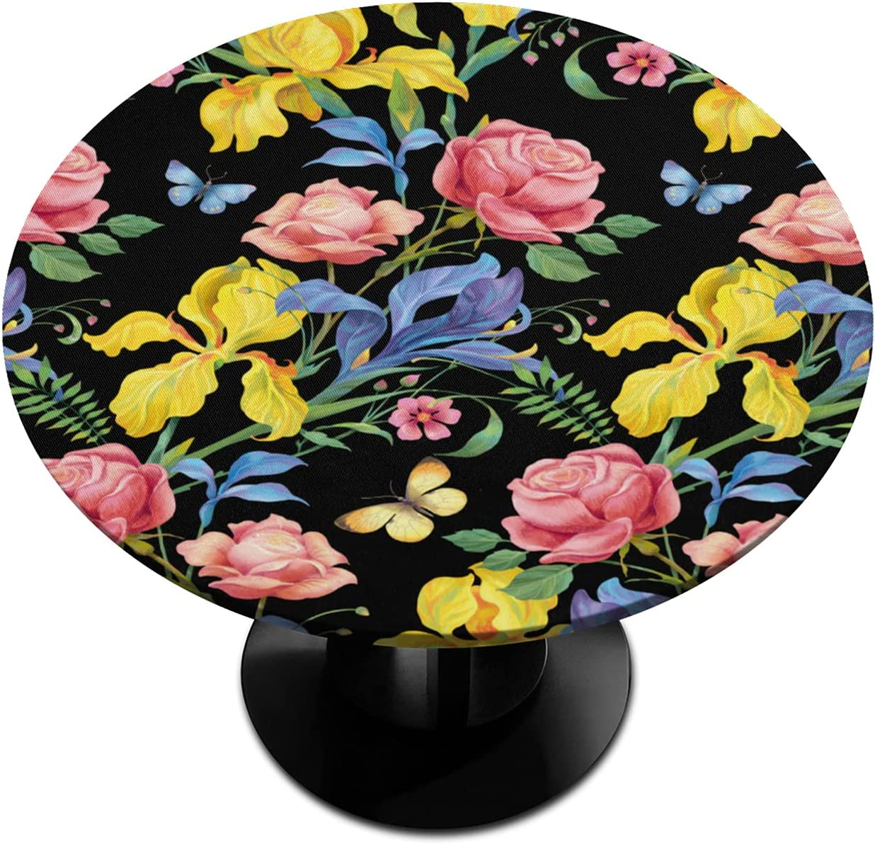 Round Fitted Albuquerque Mall Tablecloth Flower Floral Sales of SALE items from new works Elastic Ed Rose Butterfly