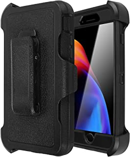 iPhone 8/7/6/6s Shockproof Case, AICase [Heavy Duty] [Full Body] Tough 4 in 1 Rugged Armor with Built-in Screen Protector for Apple iPhone 8/7/6/6s (Black+Belt Clip)