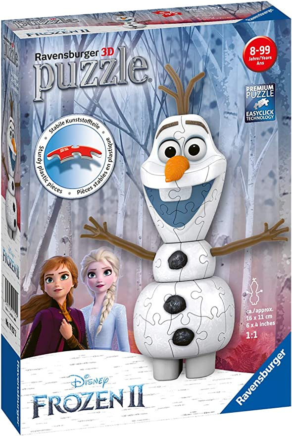 """Frozen II Olaf Snowman Shaped Puzzle 48 piece Size 9.1/""""x10.3/"""" New"""