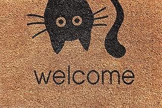 Cranberry Mats Designer Natural Coir Non Slip Doormat for Patio, Front Door, All Weather Exterior Doors Welcome Animal (16 X 24 Inch) Cat Face Small