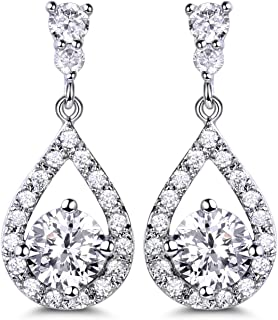 Silver Plated Base Round Cut Flawless CZ Cubic Zirconia Crystal White Women Drop Earrings