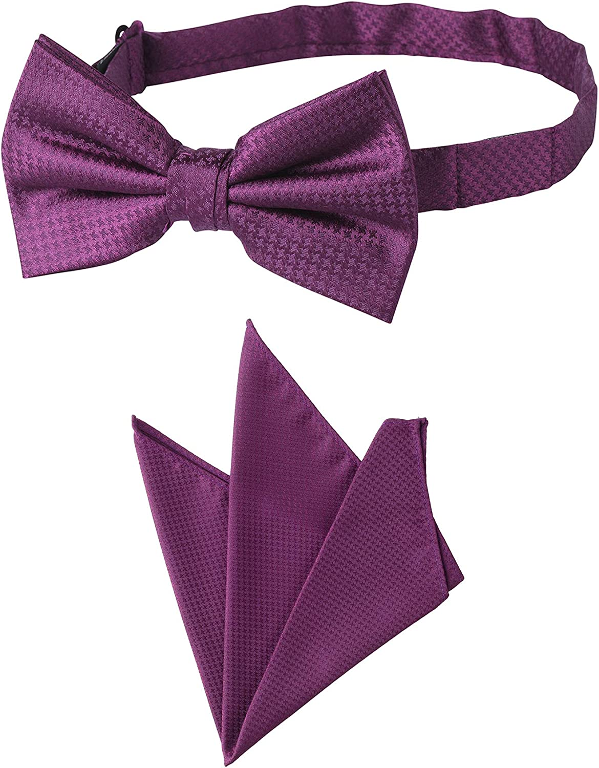 Jacob Alexander Men's Tone on Tone Houndstooth Pre-Tied Banded Bow Tie and Pocket Square Set