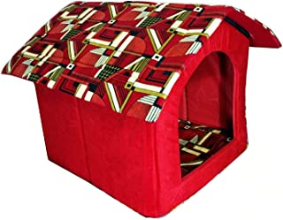 THE DDS STORE Foldable Printer Velvet Fabric Puppy and Cat House (X-Small)