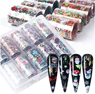 ErYao Christmas Nails Decals Stickers, 10 Rolls Christmas Multi-Color Mixed Santa Claus Snow Bell Christmas Tree Nail Decals Tips Wraps Nail Art Stamping Nail Art Stickers (Multicolor)