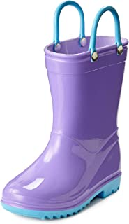 Toddler and Kids Waterproof Rain Boots with Easy-On Handles - Boys and Girls Solid Colors