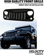 Velocity Concepts Angry Bird Vertical Mesh Front Grill Glossy Black Hood Bumper Grille 2007-2018 For Jeep Wrangler JK