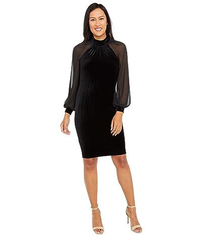 Calvin Klein Velvet Dress with Illusion Sleeves (Black) Women