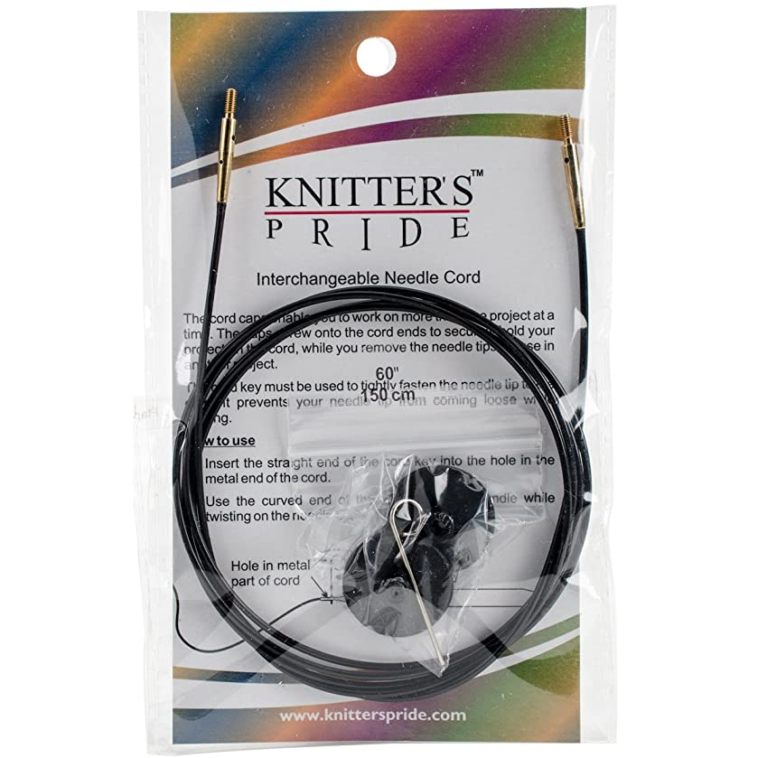 Knitter's Pride Interchangeable 49-inch (125cm) Black Gold Cord; makes 60