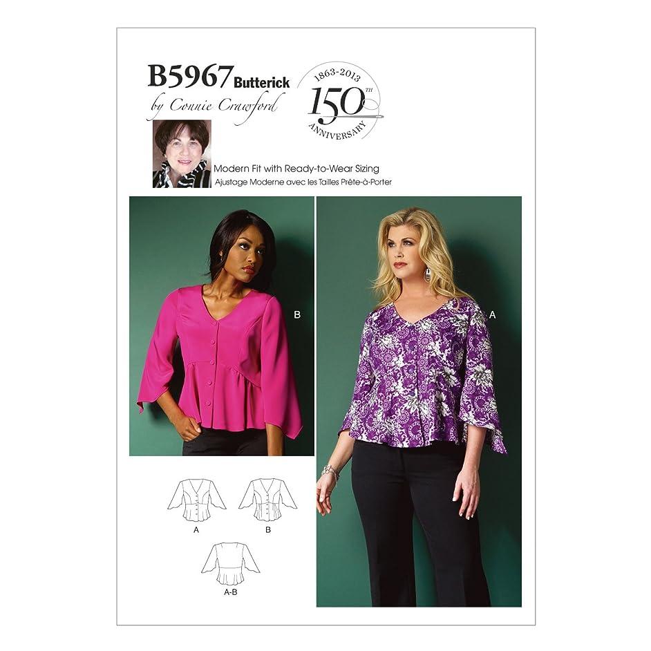 Butterick Patterns B5967 Misses'/Women's Top Sewing Template, Size WOMAN (XXL-1X-2X-3X-4X-5X-6X)