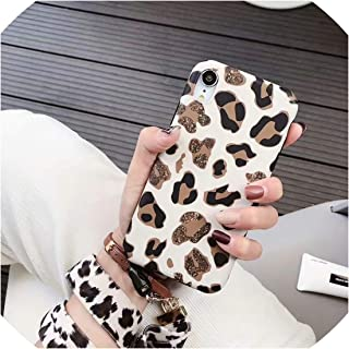 U-See for iPhone X Xs Xr Xs Max Case Luxury Leopard Print Silicone Soft Hang Rope Cases for iPhone X 6S 6 7 8 Plus Back Cover,Beige,for iPhone 6Plus 6Sp