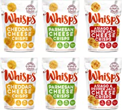 Whisps Cheese Crisps 6 Pack Assortment   Keto Snack, No Gluten, No Sugar, Low Carb, High Protein   Parmesan, Cheddar and Asiago & Pepper Jack