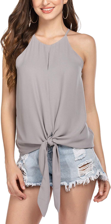 Wildtrest Halter Tops Casual Loose Sleeveless Blouse Shirts Summer Spaghetti Strap Cami Tank Tops, S-XXL
