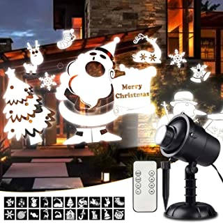 Christmas Lights Projector, 3D Rotating Christmas Projector Lights with Christmas Trees/Santa Claus/Stars/Snowflake/Reinder/Snowman Pattern, Waterproof with Remote for Outdoor Christmas Decorations