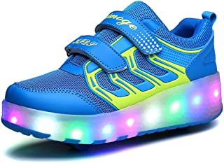 BY0NE Boys Girls Single Wheel Light up Roller Shoes Double Wheeled LED Skate Sneakers