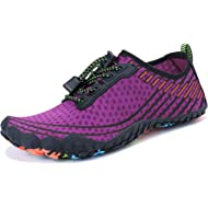 Dellukee Women Men Water Sports Shoes Fish Color Aqua Quick Dry Barefoot for Outdoor Swim Surf Beach