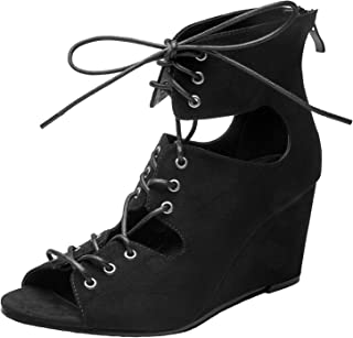 Women's Wide Width Wedge Sandals - Lace up Open Toe Suede Summer Shoes.