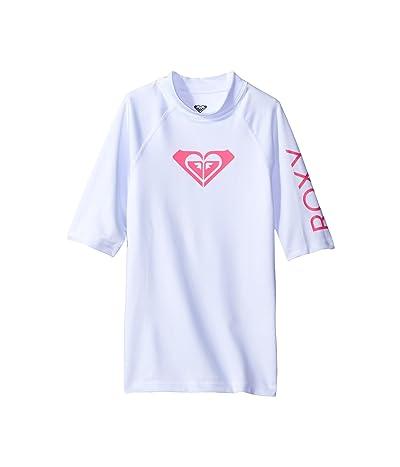 Roxy Kids Whole Hearted Short Sleeve Rashguard (Big Kids) (White 2) Girl