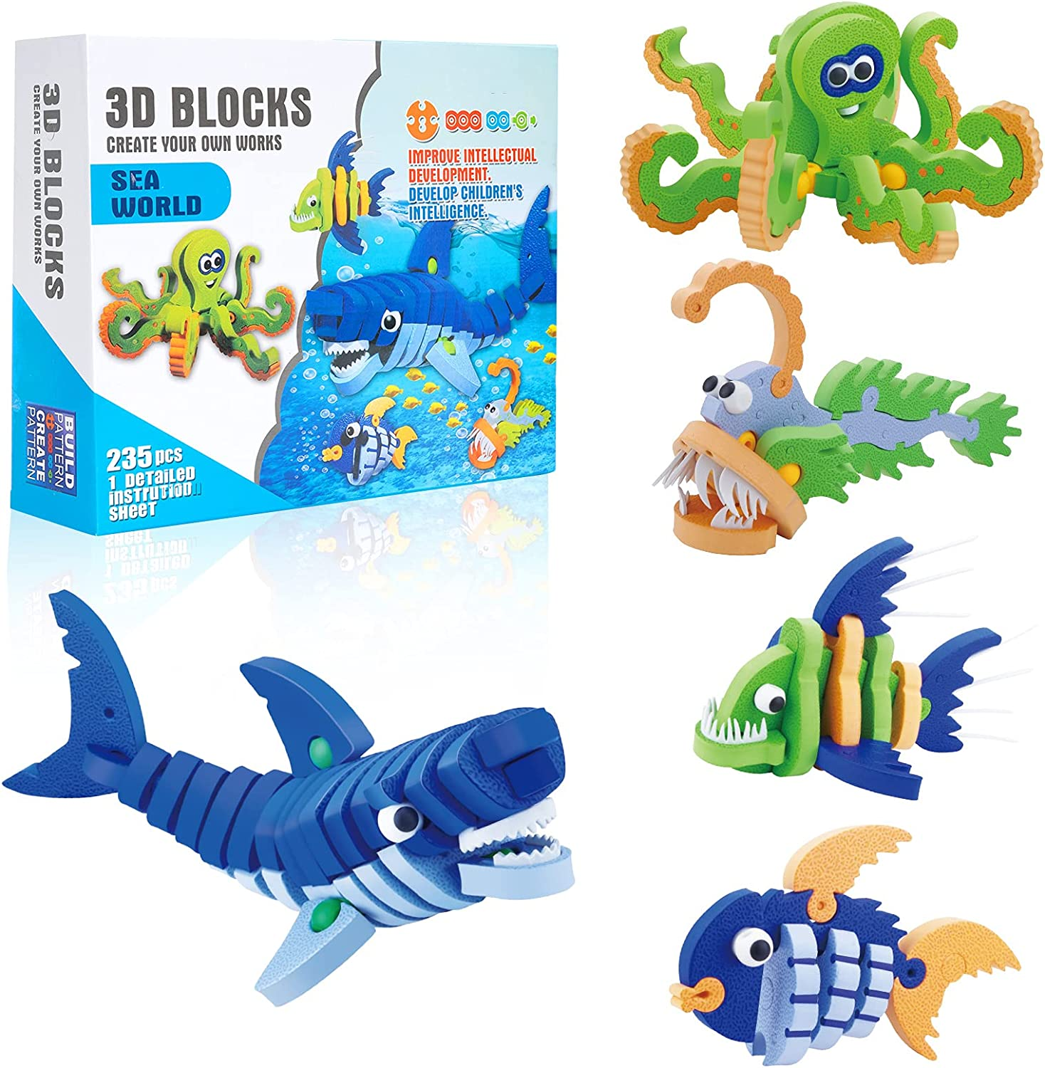 20D Puzzles, 20 in 20 Soft EVA Building Blocks STEM Construction Educational  Toy for 20+ Year Old Kids Boys Girls Marine Animal