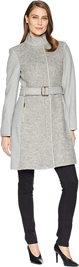 Belted Mixed Media Wool Coat R1191