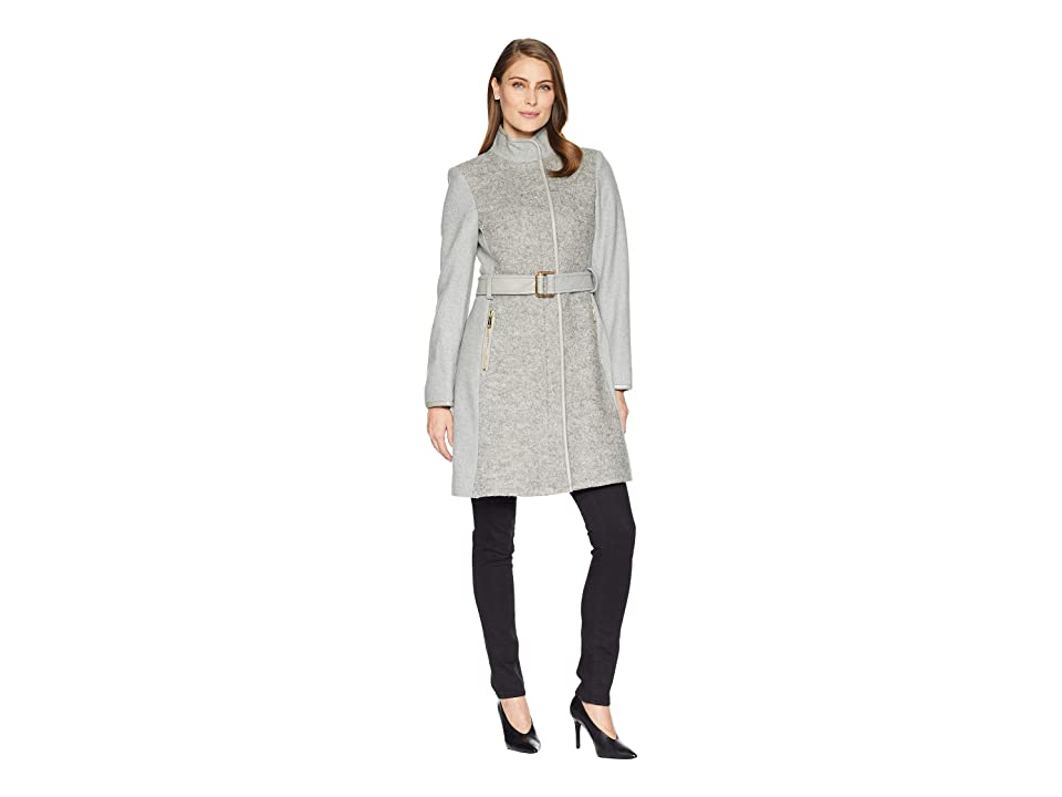 Vince Camuto Belted Mixed Media Wool Coat R1191 (Light Grey) Women