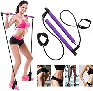 AOAUUKO Pilates Bar Kit with Resistance Bands, Portable Pilates Exercise Stick with Foot Loop Yoga Exercise Bar for Stretc...
