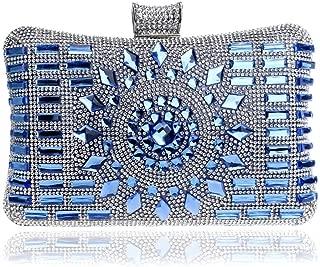 Redland Art Women's Fashion Sparkly Crystal Mini Clutch Bag Wristlet Evening Handbag Catching Purse Bag for Wedding Party (Color : Blue)