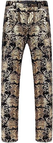 Yingsssq Pantañones para Hombre Vestido Jacquard de Bronceaño Moda Moda Joven Pantañones de época Pantañones de impresión Casual Pantañones con Cintura Ajustable Fiesta de oro