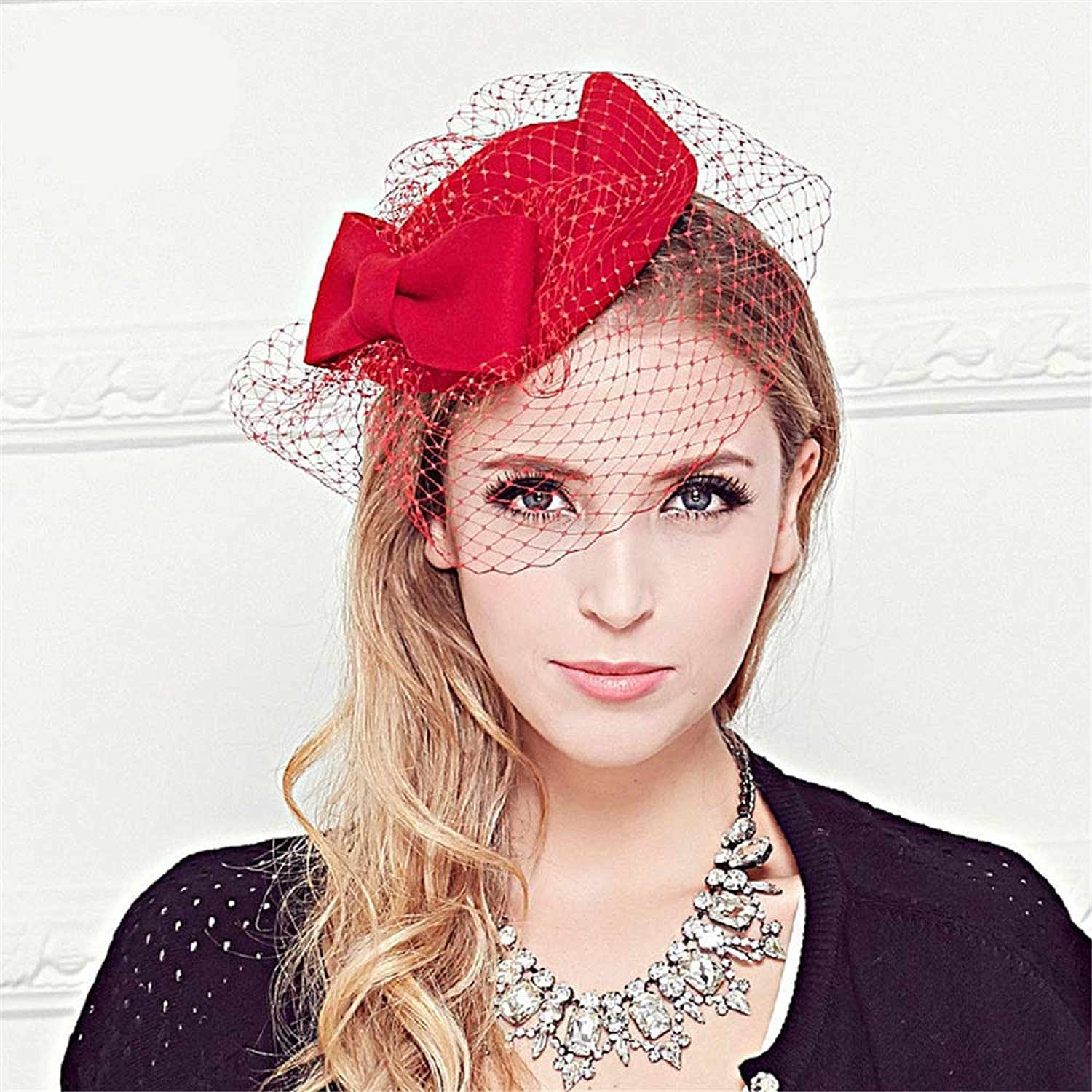 Cocktail Tea Party Headwear Party Cocktail Royal Ascot for Women Bridal Fascinators Hats 20s 50s Hat Pillbox Hat Cocktail Tea Party Headwear with Veil for Girls and Women (color   Red)