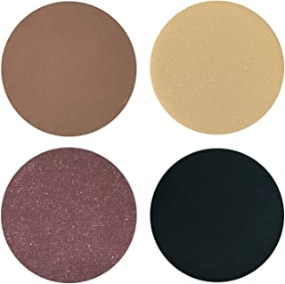 Extra Smokey Eyeshadow Quad Palette - 4 Highly Pigmented Single Powder Eye Shadow Pans, Magnetic Refill 26mm, Professional Quality Makeup, Paraben and Gluten Free, Cruelty Free Cosmetics Made in USA