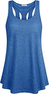 Cyanstyle Women's Sleeveless Scoop Neck Flowy Loose Hollow Yoga Soft Casual Summer Tank