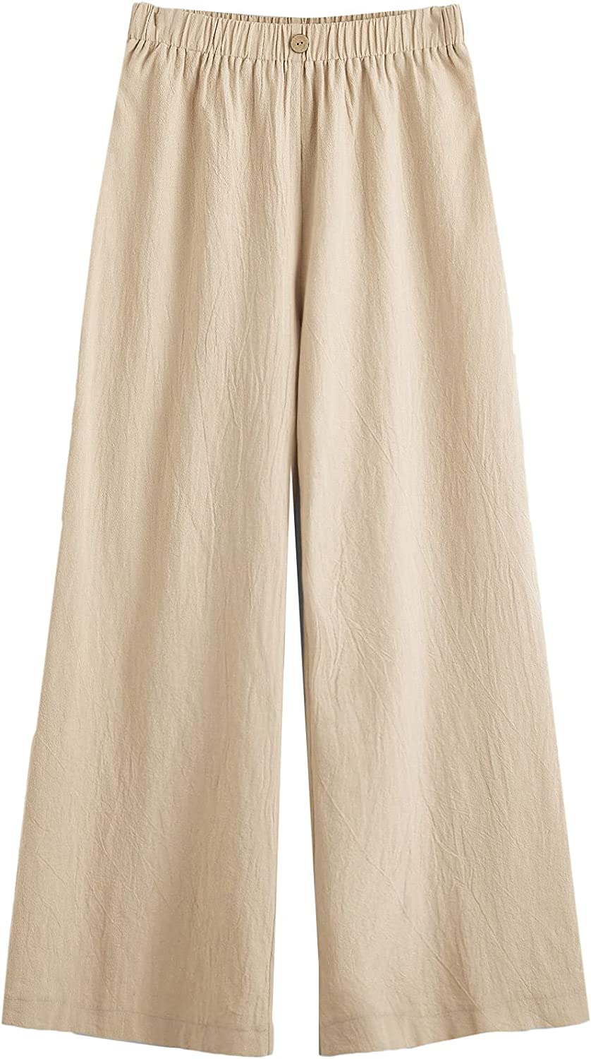 Floerns Women's Elastic Waisted Solid Casual Wide Leg Palazzo Pants