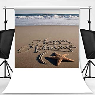 Happy Holidays Message Handwritten on Beach with Crashing Waves Photography Backdrop,051982 for Photo Studio,Flannelette:6x10ft