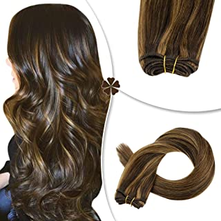 Hetto Straight Remy Hair Bundles Sew in Extensions 18 Inch Hair Extensions Human Hair Weft #2 Darkest Brown and #8 Light Brown Silky Brazilian Natural Hair Weave Weft 100G/Bundle