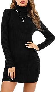 Irevial Vestiti Donna Invernali, Moda Abito in Maglia Donna Collo Alto Aderente con Manica Lunga, Vestito Maglione Donna E...