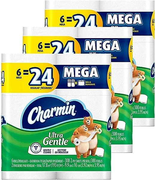 Charmin Ultra Gentle Toilet Paper 18 Mega Rolls Equal To 72 Regular Rolls Pack Of 3