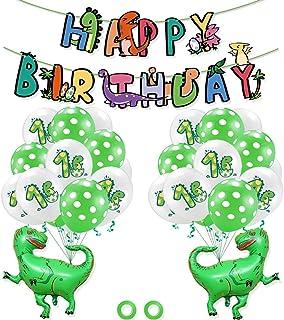 لوازم حفلات مصنوعة يدويًا على شكل ديناصورات للاطفال ومجموعة بالونات ولافتات ورايات، زينة للحفلات والمهرجانات ورمضان والعيد...