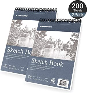 Bachmore Sketchpad 9X12 Inch (68lb/100g), 200 Sheets of Top Spiral Bound Sketch Book for Artist Pro & Amateurs | Marker Art, Colored Pencil, Charcoal for Sketching (2 Packs)