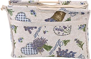 Wood Handles Knitting Bag, Lightweight Exquisite Wood Handle Fabric Large Capacity Travel Yarn Storage Bag Tote Organizer for Knitting Needles Sewing Tools (Blue Flower)