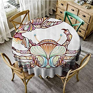 Playyee Overlay Round Tablecloth Modern,Embellished Crab Fish with Ornate Lines Ocean Animal Cancer Illustration,Multicolor Circular Table Cover Diameter 50