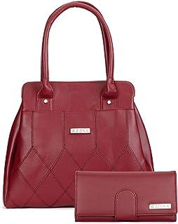 Aisna Women's Combo Handbag & Clutch (Maroon)(Set of 2)