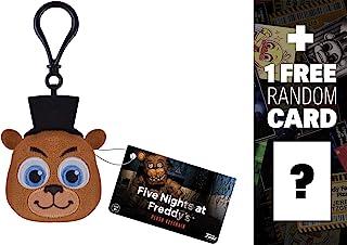 Five Nights at Freddy's Freddy: Funko x Mini-Head Plushy Keychain + 1 Free Video Games Themed Trading Card Bundle (091484)