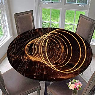 "Mikihome Round Tablecloths Spiral Sparks in The Dark or Everyday Dinner, Parties 31.5""-35.5"" Round (Elastic Edge)"