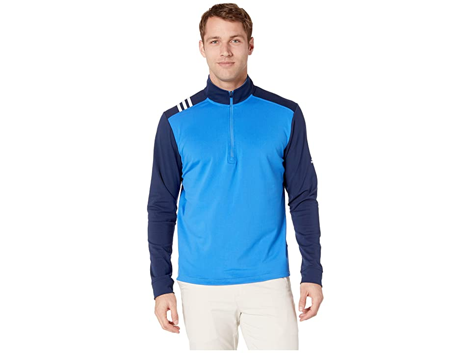 Image of adidas Golf 3-Stripes 1/4 Zip (True Blue/Collegiate Navy) Men's Clothing