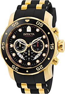 Men's Pro Diver Scuba 48mm Gold Tone Stainless Steel Quartz Watch with Black Silicone Strap,...