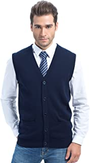 CHOiES record your inspired fashion Choies Men's Slim Fit Casual V-Neck Button Down Pocket Cotton Knit Sweater Vest