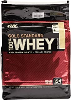Optimum Nutrition Whey Gold Standard, Vanilla Ice Cream, 10 Lbs,154 Servings