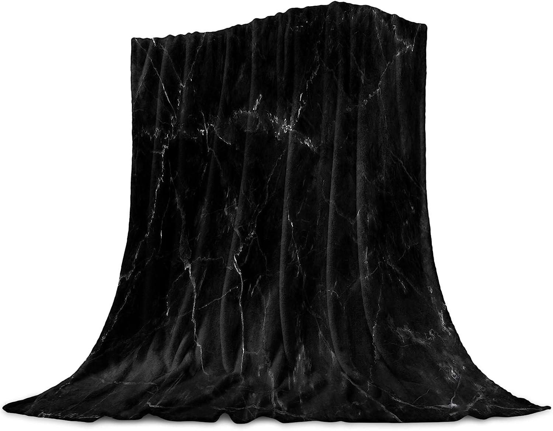 Singingin Ultra free Soft Flannel Super popular specialty store Fleece Marb Black Bed Crack Blanket